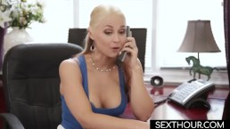 STEP MOM ON PHONE WITH HUSBAND WHILE STEP SON FUCKS HER